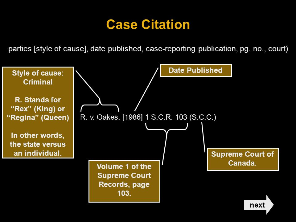 Case Citation parties [style of cause], date published, case-reporting publication, pg. no., court)